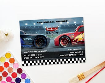 Personalized Cars 3 Birthday Party Invitation Invite Printable - Lightning Mcqueen Jackson Storm DIY Birthday Parties