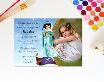 Personalized Princess Jasmine Aladdin Photo Card Birthday Party Invitation Invite Clouds Stars Magic Carpet Printable DIY - Digital File