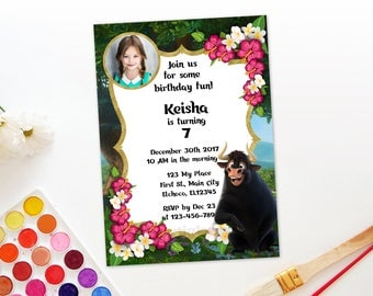 Personalized Ferdinand The Bull Photo Card Invitation Insert Photo Birthday Party Invite Flowers Gold Accent Printable DIY - Digital File