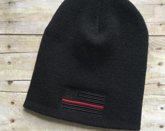 Thin red line blacked out flag beanie, firefighter skull cap, black beanie, cuff or no cuff beanie, fire station flag beanie hat