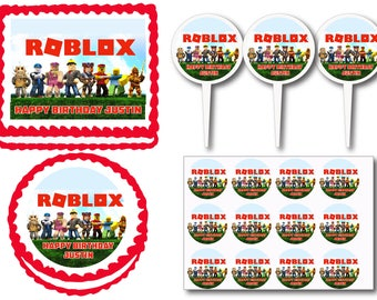 Roblox  Edible Birthday Cake Cupcake Cookie  Topper Or Plastic Cupcake Picks