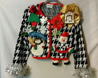 Crazy Ugly Christmas Sweater Women Size S / P  (Small Petite) Handmade