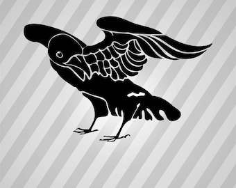 black crow - Svg Dxf Eps Silhouette Rld RDWorks Pdf Png AI Files Digital Cut Vector File Svg File Cricut Laser Cut