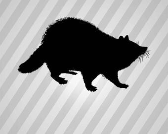 Racoon Silhouette - Svg Dxf Eps Rld RDWorks Pdf Png AI Files Digital Cut Vector File Svg File Cricut Laser Cut