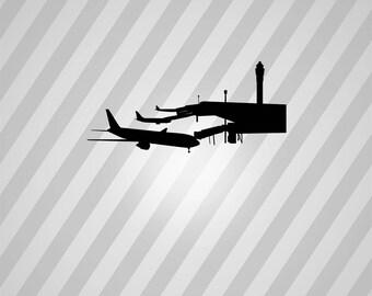 Airport Silhouette Airplane - Svg Dxf Eps Silhouette Rld RDWorks Pdf Png AI Files Digital Cut Vector File Svg File Cricut Laser Cut