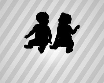 twins Silhouette - Svg Dxf Eps Silhouette Rld RDWorks Pdf Png AI Files Digital Cut Vector File Svg File Cricut Laser Cut