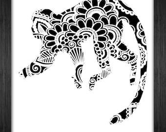 Squirrel Monkey Papercut Template Mandala Henna - Svg Paper Cut Templates Stencil Line Art Pdf Cut Files Digital Clip Art Drawing