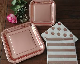 Elegant Rose Gold Foil Paper Plates Striped and Dots Napkins ~ Dinner Dessert Plates Wedding Birthday Holiday Party Supplies Rosegold