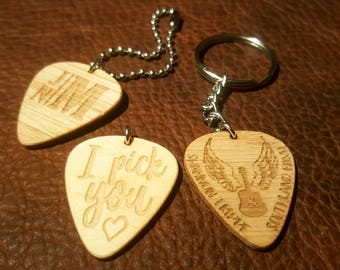 Custom Guitar Pick Keychain - Personalized, Text, and Quotes Engraved