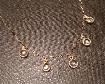 Crystal quartz dangling choker necklace on gold fill chain