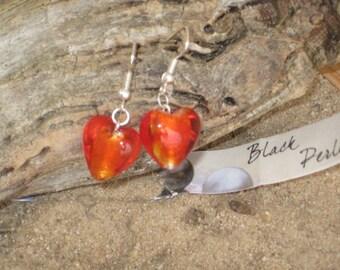 Earrings red glass heart