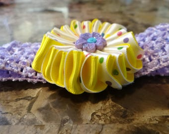Cute Headband with Kanzashi Flower, Headband with kanzashi flower, Kanzashi Flower for littler girls