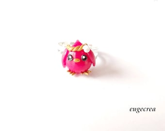 Bird ring pink fuchsia Fimo