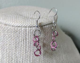 Steampunk Industrial Chain Mail Silver And Pink Dangle Earrings