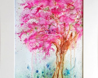 Cherry Blossom tree -Ink and watercolour