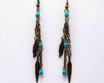 Earrings Indian spirit feathers and beads