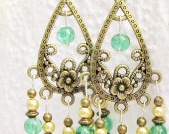 Green and gold Baroque earrings