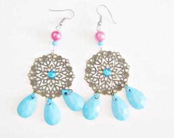 Ocean blue turquoise earrings