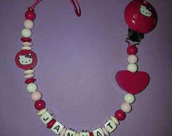 "Pacifier clip personalized ""Hello kitty"""