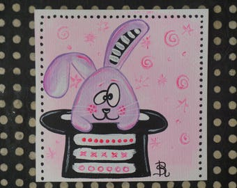 Personalized unique rabbit handmade colorful painting