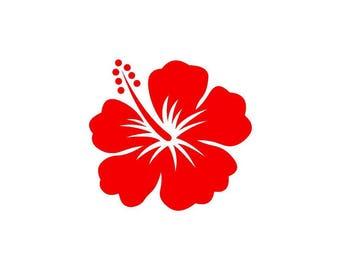 Hibiscus red vinyl sticker shiny 9.3 cm high (glass exterior, ref: Y)