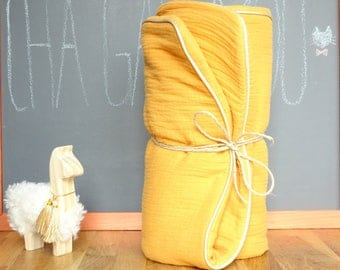 Blanket lined baby mustard yellow cotton gauze