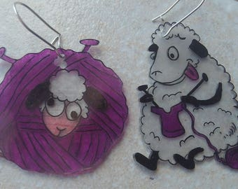 sheep/ball of yarn earrings