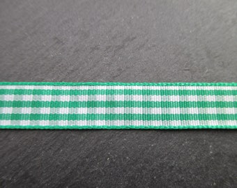 2 meters of Plaid green and white 10 mm satin ribbon