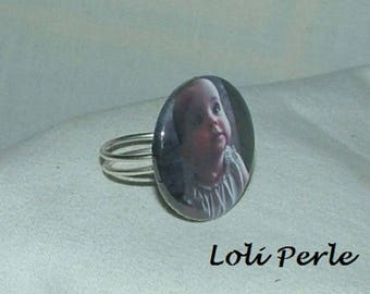 Ring in silver plated with a photo of your choice