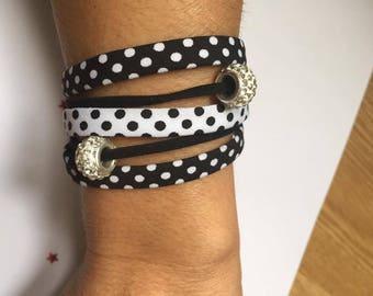 Black White rhinestone charms and Ribbon cuff Bracelets jewelry