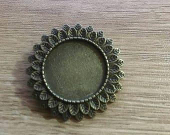 set of 2 brackets brooch color bronze 20 mm cabochon