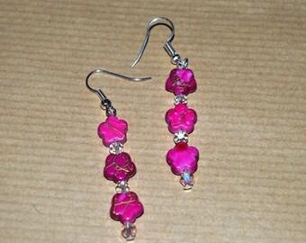 3 pink flowers for pierced earrings
