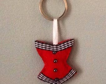 Keychain or bag red corset