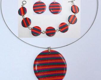 Parure, Locket necklace, bracelet, earrings with multi-color stripes