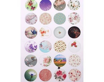 24 IMAGES digital 18mm CABOCHON for A5 new NATURE THEME