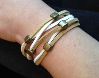 cream and coffee duo magnetic bracelet