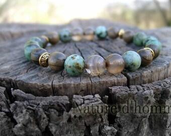 Mens bracelet ebony, Botswana agate and turquoise African ref: BN-145