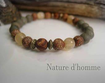Rustic, yak Horn and pyrite Ref Dzi agate stone Bracelet: BN-125