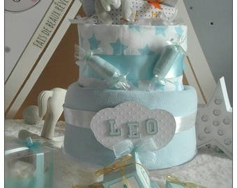 Diaper cake 2 floors for the birth of a boy.