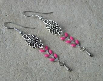 Pink glazed ears chain earrings
