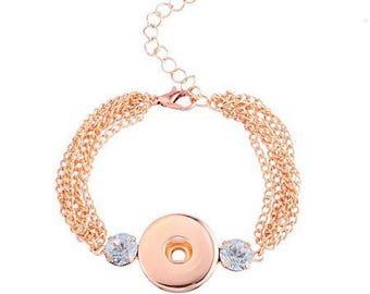 Rose gold chain bracelet for snap button