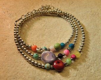 Bracelet 3 rows of beads