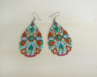 completely hand painted earrings Marrakech