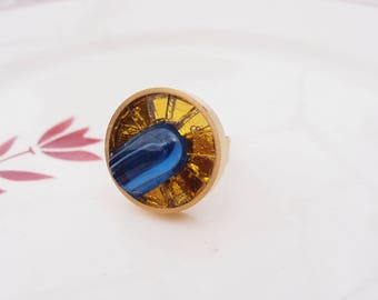 Gold plated medium turquoise and gold glass mosaic ring