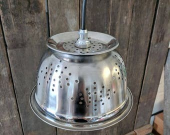 Upcycled Stainless Steel Colander Pendant Lamp