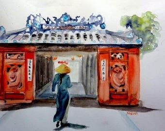 watercolor Japanese bridge Viet Nam