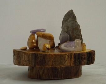 Centre de table - objet de décoration  - Bois d'acacias et de Chêne - Pierres naturelles