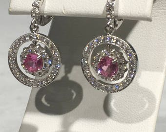 Pink Sapphire and Diamond 18K White Gold Dangle Hoop Halo Earrings