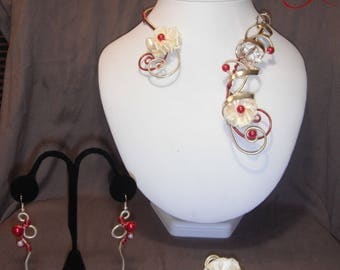 Ivory and Red aluminum wire jewelry