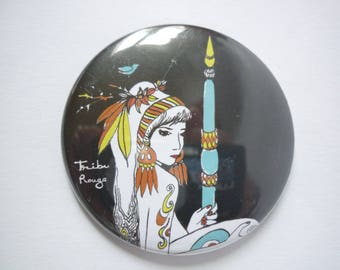 Illustrated round Pocket mirror, 2 Indian